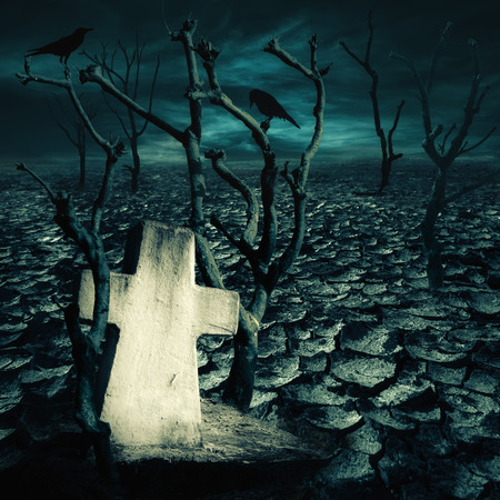 cracked earth: Abandoned grave at haunted mysterious desert with black ravens seating on dead trees under dramatic night sky. Dark spooky landscape for evil and death concept