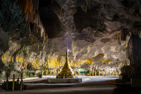 Amazing view of Buddhist Pagoda at sacred Sadan Sin Min cave. Hpa-An, Myanmar (Burma) travel landscapes and destinations