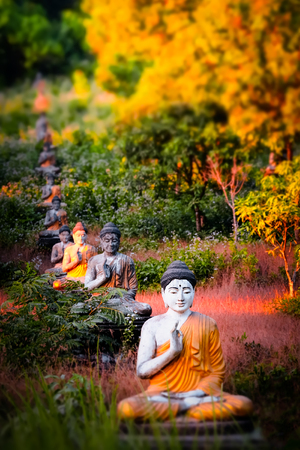 Tilt shift blur effect. Amazing view of lot Buddhas statues in Loumani Buddha Garden. Hpa-An, Myanmar (Burma) travel landscapes and destinations