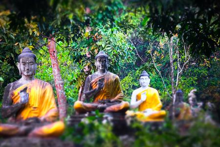 Tilt shift blur effect. Prachtig uitzicht van veel Boeddha beelden in Loumani Buddha Garden. Hpa-An, Myanmar (Birma) reizen landschappen en bestemmingen Stockfoto