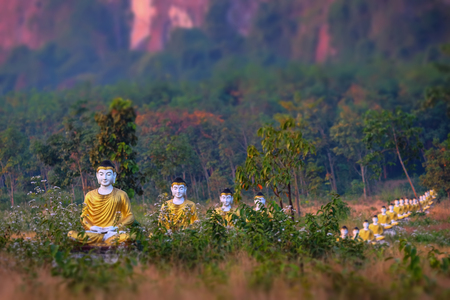tilt: Tilt shift blur effect. Amazing view of lot Buddhas statues in Loumani Buddha Garden. Hpa-An, Myanmar (Burma) travel landscapes and destinations Stock Photo