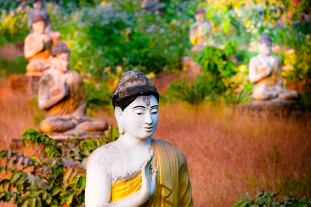 buddha statue: Amazing view of lot Buddhas statues in Loumani Buddha Garden. Hpa-An, Myanmar (Burma) travel landscapes and destinations Stock Photo