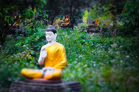 buddha statue: Tilt shift blur effect. Amazing view of lot Buddhas statues in Loumani Buddha Garden. Hpa-An, Myanmar (Burma) travel landscapes and destinations Stock Photo