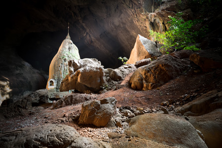 sin: Amazing view of Buddhist Pagoda at sacred Sadan Sin Min cave. Hpa-An, Myanmar (Burma) travel landscapes and destinations