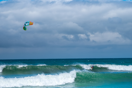 kite surfing: Amazing kite surfing at Philippines. Processional instructor surfing in ocean waives