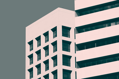stylization: Abstract minimal style architecture background. Modern building facade detail. Retro colors stylization