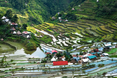 philippines: Village houses near rice terraces fields. Amazing abstract texture with sky colorful reflection in water. Ifugao province. Banaue, Philippines UNESCO heritage Stock Photo