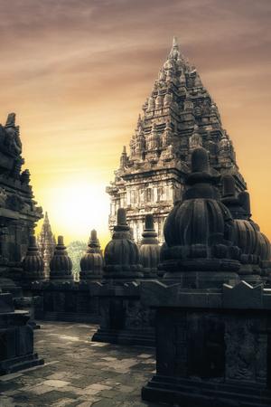 city of sunrise: Amazing sunrise at Prambanan Temple. Great Hindu architecture in Yogyakarta. Java island, Indonesia