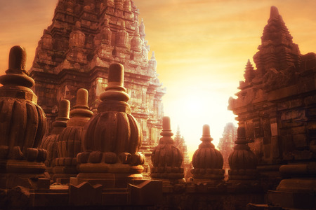 Amazing sunrise at Prambanan Temple. Great Hindu architecture in Yogyakarta. Java island, Indonesia