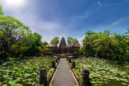 saraswati: Amazing view of pond with lotus flowers near Pura Saraswati Hindu temple in Ubud, Bali, Indonesia Stock Photo