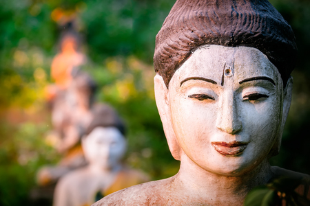 Amazing view of lot Buddhas statues in Loumani Buddha Garden. Hpa-An, Myanmar (Burma) travel landscapes and destinations Archivio Fotografico - 105525930