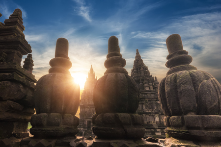 Amazing sunrise at Prambanan Temple. Great Hindu architecture in Yogyakarta. Java island, Indonesia. Archivio Fotografico - 115909404