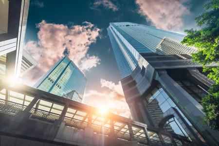 Abstract futuristic cityscape view with modern skyscrapers. Archivio Fotografico - 115909405