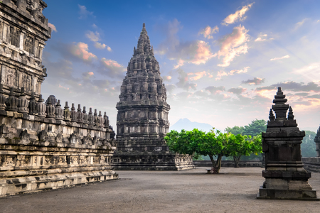 Amazing sunrise at Prambanan Temple. Great Hindu architecture in Yogyakarta. Java island, Indonesia. Archivio Fotografico - 115909406