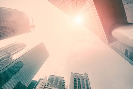 Abstract futuristic cityscape view with modern skyscrapers. Urban landscape of Singapore. Skyline of business district 版權商用圖片