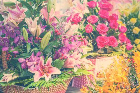 Beautiful different flowers bouquets at street shop 版權商用圖片