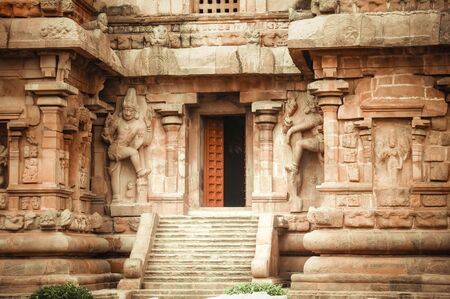Central entrance at Gangaikonda Cholapuram Temple. Great architecture of Hindu Temple dedicated to Shiva. South India, Tamil Nadu, Thanjavur (Trichy)