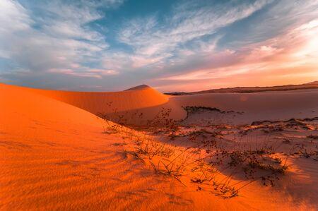 Lonely sand dunes under amazing evening sunset sky at drought desert landscape. Global warming concept