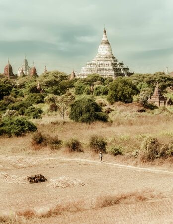 Travel landscapes and destinations. Amazing architecture of old Buddhist Temples at Bagan Kingdom, Myanmar (Burma) Stock Photo