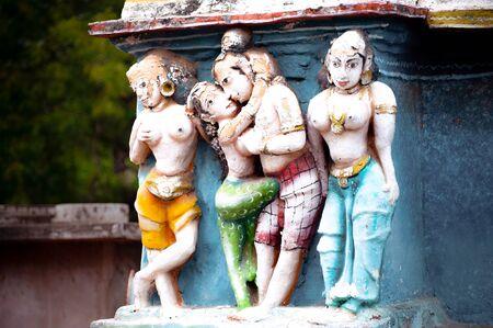 Hindu religious art. Ancient statue pantheon of Gods at Temple gopura (tower) facade. South India, Tamil Nadu