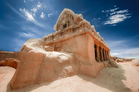 Panch Rathas Monolithic Hindu Temple in Mahabalipuram. Great South Indian architecture, Impressive architectural site.  South India, Tamil Nadu, Mamallapuram
