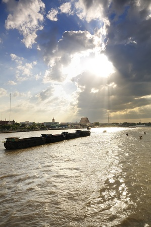 Way of life of people living along the Chao Phraya River. Stock Photo