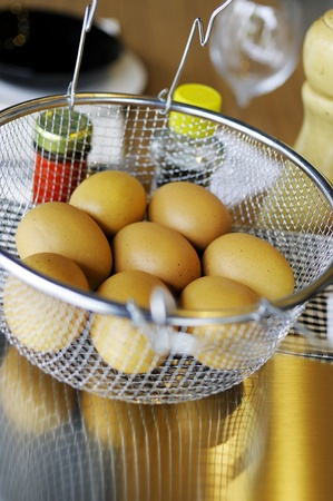Prepare eggs to be boiled. Stock Photo