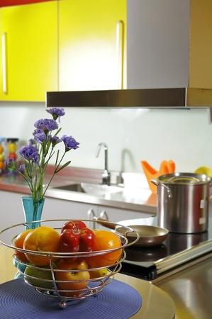 Colourfull kitchen settingshowroom