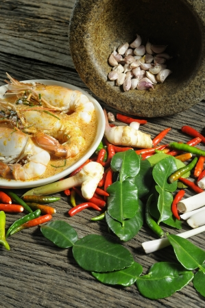 Ingredients for Thai food, ready for cooking.