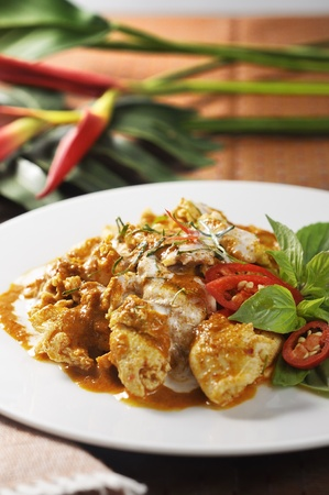 Thai red curry pork,with spices, chili.