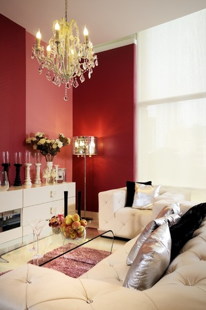 Living room with a contemporary prominently colors. Editorial