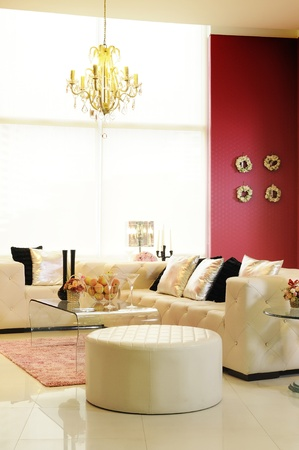 Living room with a contemporary prominently colors. Stock Photo - 10005832