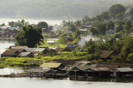 Community waterfront. Sam Prasob Sangkhlaburi, Kanchanaburi  province in Thailand. Stock Photo