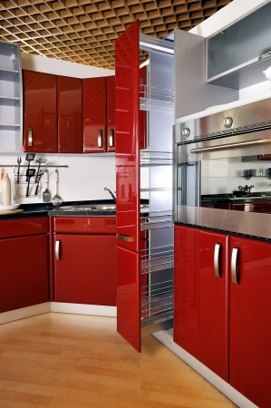 Modern kitchen cabinet door a deep red