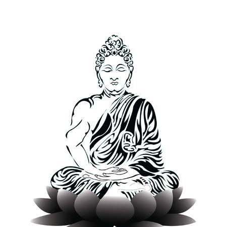 Buda sentado en una flor de loto y meditando en la posición de loto único. Dibujo a mano intrincado aislado sobre fondo blanco. Diseño de tatuaje.