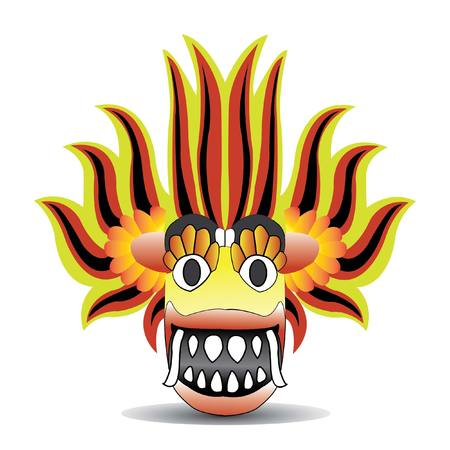 Sri Lankan devil dancing mask with big teeth vector drawing - Vector 版權商用圖片 - 116708422
