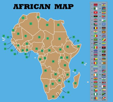 African map and African countries flags with counties names-Vector