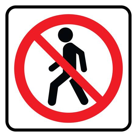 No Entry icon in white background drawing by illustration - Prohibition sign-Vector Vetores