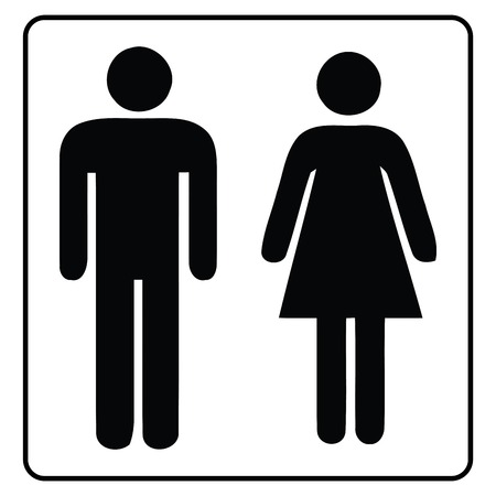 washroom sign,Restroom icon in white Background drawing by illustration,Male washroom sign and Female washroom sign -Vector