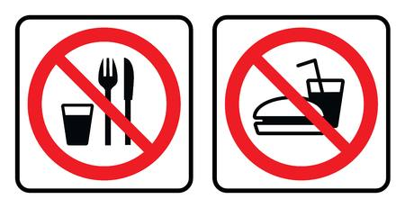No food sign collection in white background drawing by illustration-Vector Illustration