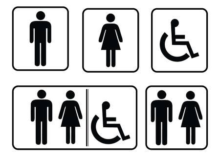 Washroom sign - restroom symbol,Male Washroom symbol and Male Washroom symbol,Washroom sign collection Ilustração