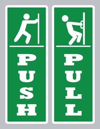 Pull push deur teken. Open deur bord vector