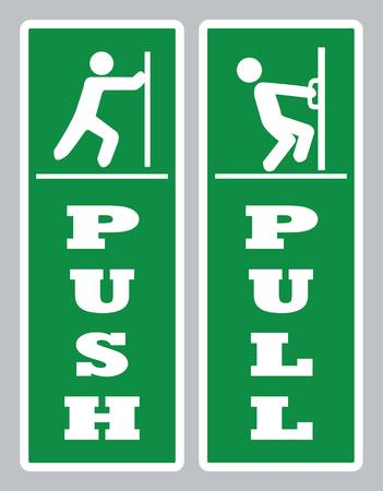 Push-Türschild ziehen. Türbrett-Vektor öffnen