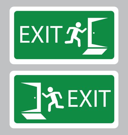 Emergency Exit symbol.Exit board in green background drawing by illustration Banque d'images - 116708797