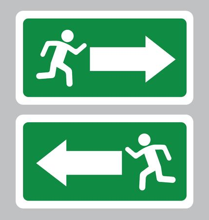 Emergency Exit symbol.Exit board in green background drawing by illustration Ilustrace