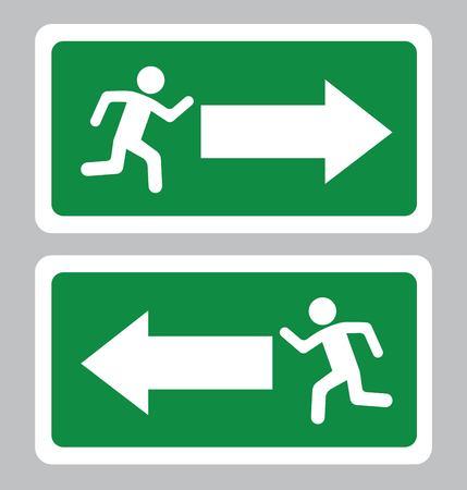 Symbole de sortie d'urgence. Panneau de sortie sur fond vert dessin par illustration Vecteurs