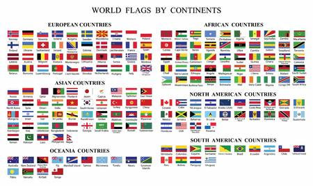 World Flag Collection-World flags by Continents.World countries flags with names by continents