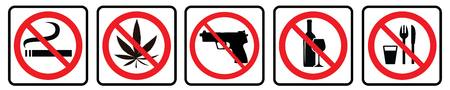 No Smoking,No Marijuana,No Weapon,No Alcohol,No food Symbol collection.Prohibition sign collection drawing by illustration