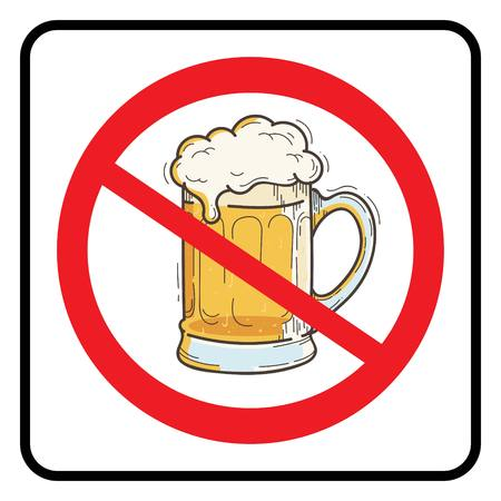 No Beer Sign.Prohibition sign.No Beer symbol in white background drawing by illustration. Colorful Beer mug