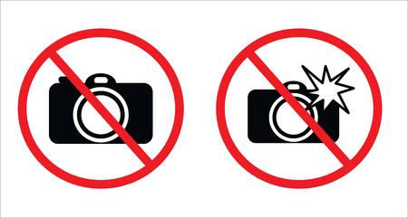 Dont take photos symbol and Dont use flash symbol in white background drawing by illustration.Prohibition sign.No photo sign and No flash sign